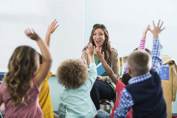 classroom of preschool students