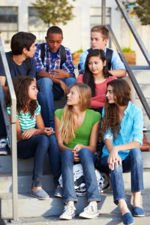 Teens on steps